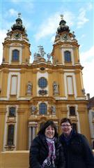 Gayle and Mary in front the of Melk Abbey on their Viking River Cruise!