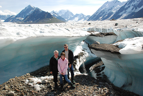 The Malsch family in ALASKA on a Glacier!