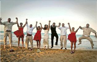 This wedding party at Excellence in Punta Cana jumped in for the fun!